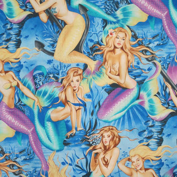 Blue Green Mermaids Print Pure Cotton Print from Alexander Henry--One Yard