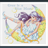 Girl In A Moon, Cross Stitch Pattern, Modern Cross Stitch, Countd Cross Stitch, Cute Cross Stitch, Girl Cross Stitch, Instant download