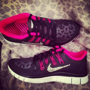 Women's Nike Free Run 5.0+ Shield Running Shoes Blinged With Swarovski Clear Elements