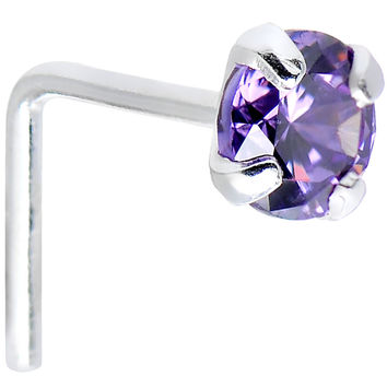 925 Sterling Silver 3mm Round Purple CZ L-Shape Nose Ring