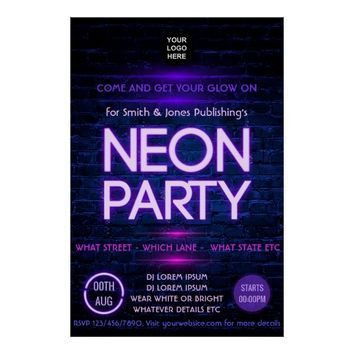 Glow in the Dark Neon Corporate party invitation Poster