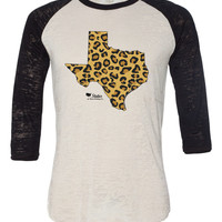 Texas Cheetah Burnout Baseball T Shirt