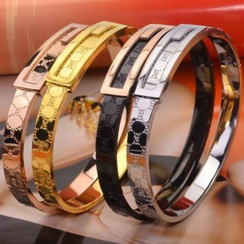 ac NOVQ2A GUCCI Double-line letters new titanium steel buckle 14K rose gold color gold bracelet