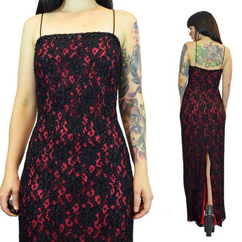 vintage 90s red black lace maxi dres spaghetti strap sequin GLAM cocktail dress burlesque gothic victorian small