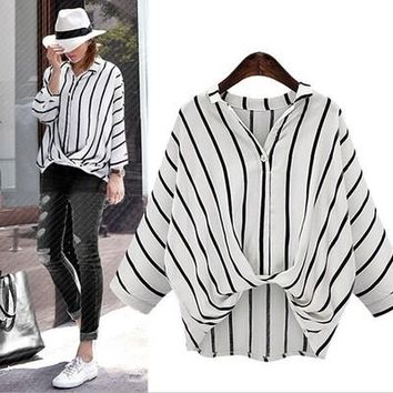 Loose Bat Sleeve Stripe Shirt Big Yards Show Thin