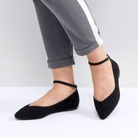 Faith Wide Fit Ally Pointed Flat Shoes at asos.com