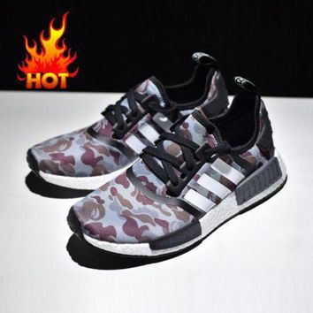 VONE05CS Best Online Sale Bape x Adidas NMD Black Camo Army Bathing Ape Nomad Runner Boost Sport Running Shoes - BA7325