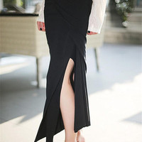 slit skirt/women summer skirts/summer skirt/black skirt/asymmetrical skirt/maxi skirt/long skirt/long summer skirt/casual summer skirt