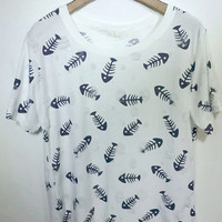 Short Sleeve Fish Bone Print T-Shirt
