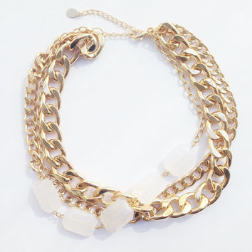 SPRING SALE - 20% OFF! Bib statement necklace - White stone and Gold plated chunky chain
