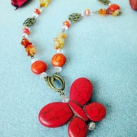 Artfire.com Butterfly Necklace Howlite Fire Opal Stones Orange Antique | LittleApples - Jewelry on ArtFire