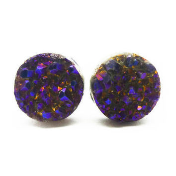 Cobalt Blue Flame Druzy Stud Earrings n.67