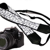 Text camera strap. DSLR Camera Strap. Camera accessories. Nikon Canon camera strap.