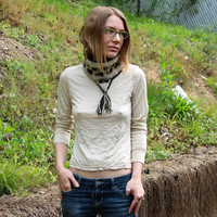 Wool knit cowl, knit cowl, neutral white neckwarmer, winter accessory, intarsia knit