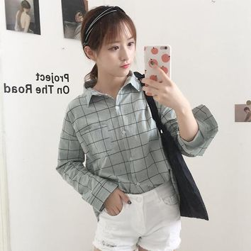 Women Blouse Summer 2018 korea lattice shirt kawaii loose long sleeve casual top Vadim Harajuku Cotton ladies Clothing Shirt