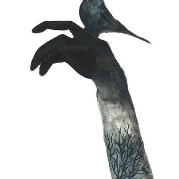 """Print from original watercolor, charcoal & India ink illustration by Lexi Rajkowski - Titled """"Be Free"""""""
