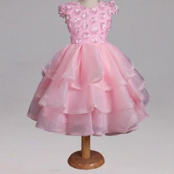 Pink Vintage Princess Flower Girl Dresses for Wedding Flowers Lace Girl Communion Dress Organza Girl Party Gowns