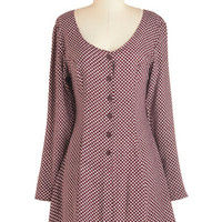 ModCloth 90s Mid-length Long Sleeve A-line I Flaunt It That Way Dress