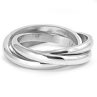 3MM Stainless Steel Plain Trinity Wedding Band
