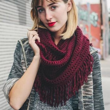 Warm Greetings Tassel Infinity Scarf, Burgundy