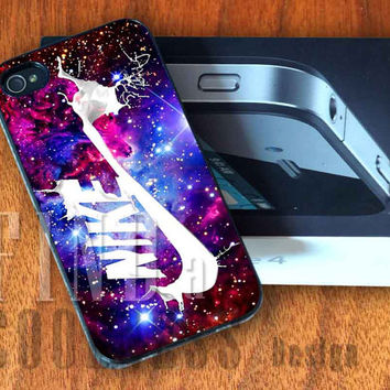 Nike Galaxy Purple Nebula  - Print Custom Case - Rubber or Plastic - iPhone 4 or 4s / 5, Samsung S3 / S4, iPod 4 /5