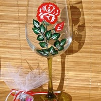 Graduation 2015 Custom Painted Wine Glass In Your Choice Of School Colors