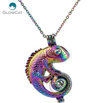 C240 COLORS lovely Animal Lizard Beads Cage Necklace Pendant Aroma Essential Oil Diffuser Locket Necklace