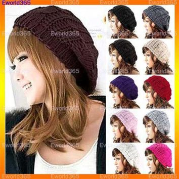 VONESC6 10x  Fashion Women Lady Winter Warm Knitted Crochet Slouch Baggy Beret Beanie Hat Cap  Y1