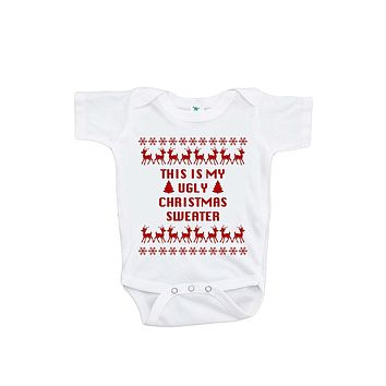 Custom Party Shop Unisex Baby This Is My Ugly Christmas Sweater Christmas Onepiece