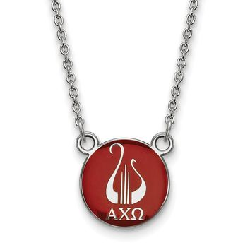 Sterling Silver Alpha Chi Omega Small Enamel Necklace