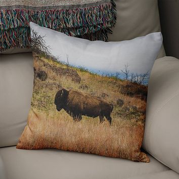 Wichita Mountains Oklahoma Bison Throw Pillow Cover- 5 Sizes