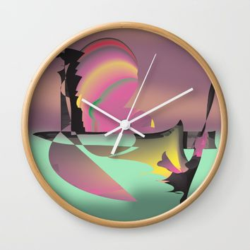 The Lovers Quarrel Wall Clock by Distortion Art