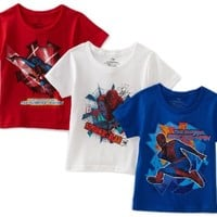 Fruit Of The Loom Boys 2-7 Spiderman Movie  Crew Neck Tee, Assorted, 4(Pack of 3)