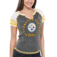 Pittsburgh Steelers Majestic Women's More Than Enough V-Neck T-Shirt – Black