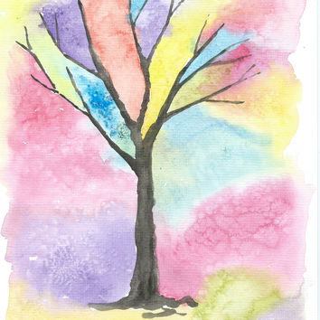 Original Watercolor Abstarct Tree Painting