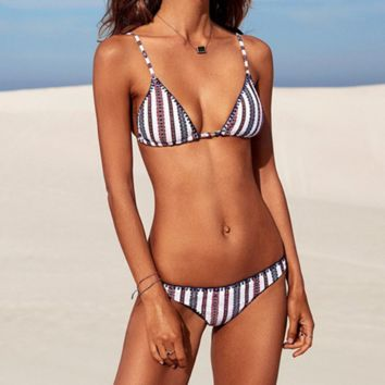Vertical Striped Ring Detail Triangle Bikini Set