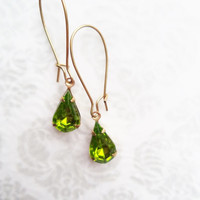 Vintage Earrings Green Glass Dangles Boho Hollywood Glam Accessories Gift Idea For Her Stocking Stuffer Under 15