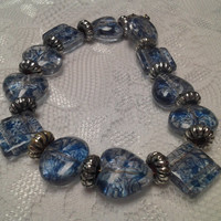 Clear Glass Bead with Blue Floral Design Bracelet