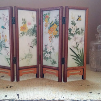 Asian Japanese Folding Table Screen Hand Painted Glass Screens Wood Frame Reversible