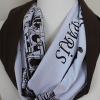 Travel Scarf, Book Scarf, NYC Scarf, Paris Scarf, Women Cotton Scarf, City Print Scarf, London, Roma Paris Monuments Scarf, Traveller Scarf