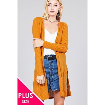 Ladies fashion plus size long sleeve open front side slit tunic length brushed waffle cardigan