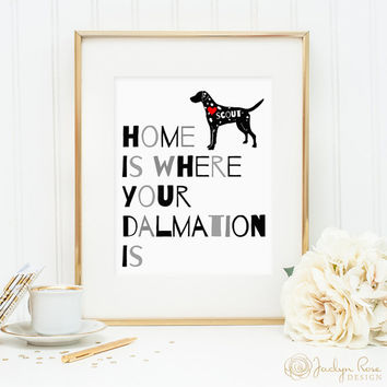 Dalmation print, dalmation dog print, personalized dog art print for your dalmation, dalmation dog wall art, custom gift for dog owners