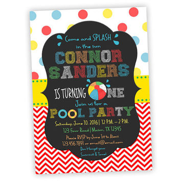 1st Birthday Pool Party Invitation - Beachball Invitation for 1st birthday Boy - Summer 1st Birthday Invite - Primary Chevron - Chalk Style