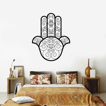 Vinyl Decal Wall Sticker Hamsa Amulet Arabic Protective Room Decor Beautiful Ornament (ig2082)