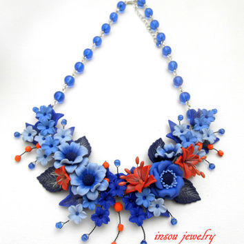 Fall jewelry - Blue jewelry - Flower necklace - Handmade polymer jewelry