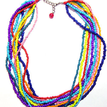 Colorful Twisted Seed Bead Necklace - Beaded Hippie Necklace - Multi Strand Layered Necklace - Hippie Jewelry