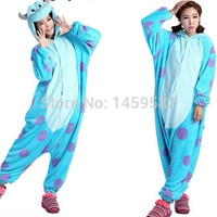 free shipping New Unisex Adult Sully Pajamas Cosplay Costume Animal Onesuit Monsters University Mike Sulley Sleepwear
