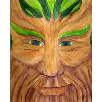 Green Man - Giclee Print of Pagan God Watercolor Pencil Fine Art