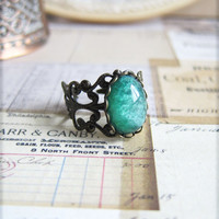 Fire Opal Ring Emerald Green Ring The Great Gatsby Jewelry Vintage Style Green Fire Opal Antique Silver Ring LOTR Lord of the Rings