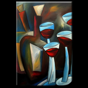 One Down - Original Large Abstract Contemporary Modern Expressionism Wine Art Painting by Fidostudio